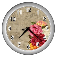 Flower Floral Bouquet Background Wall Clocks (Silver)