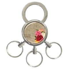 Flower Floral Bouquet Background 3-Ring Key Chains
