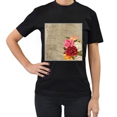 Flower Floral Bouquet Background Women s T-Shirt (Black) (Two Sided)