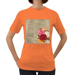 Flower Floral Bouquet Background Women s Dark T-Shirt