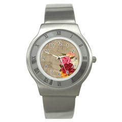 Flower Floral Bouquet Background Stainless Steel Watch