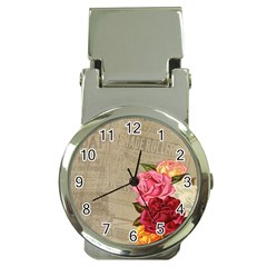 Flower Floral Bouquet Background Money Clip Watches