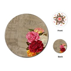 Flower Floral Bouquet Background Playing Cards (round)