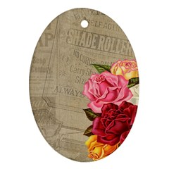 Flower Floral Bouquet Background Oval Ornament (two Sides)