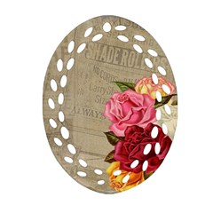 Flower Floral Bouquet Background Oval Filigree Ornament (two Sides)