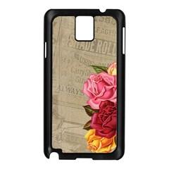 Flower Floral Bouquet Background Samsung Galaxy Note 3 N9005 Case (Black)