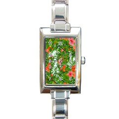 Flower Background Backdrop Pattern Rectangle Italian Charm Watch
