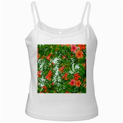 Flower Background Backdrop Pattern White Spaghetti Tank