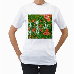 Flower Background Backdrop Pattern Women s T-Shirt (White) (Two Sided)