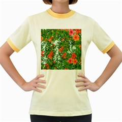 Flower Background Backdrop Pattern Women s Fitted Ringer T Shirts
