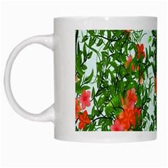 Flower Background Backdrop Pattern White Mugs