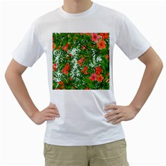 Flower Background Backdrop Pattern Men s T Shirt (white) (two Sided)