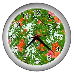 Flower Background Backdrop Pattern Wall Clocks (Silver)