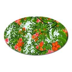 Flower Background Backdrop Pattern Oval Magnet