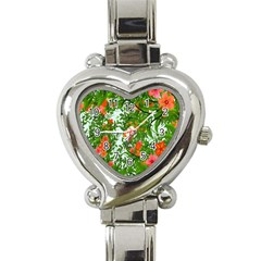 Flower Background Backdrop Pattern Heart Italian Charm Watch