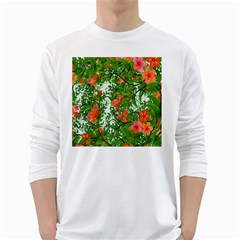 Flower Background Backdrop Pattern White Long Sleeve T-Shirts