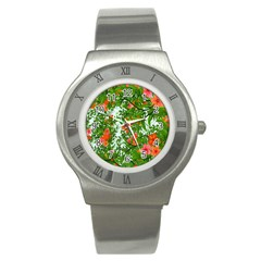 Flower Background Backdrop Pattern Stainless Steel Watch
