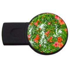 Flower Background Backdrop Pattern USB Flash Drive Round (4 GB)