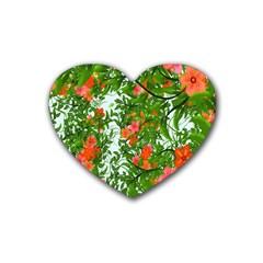 Flower Background Backdrop Pattern Rubber Coaster (Heart)