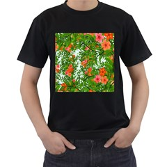 Flower Background Backdrop Pattern Men s T-Shirt (Black)
