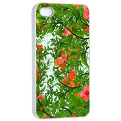 Flower Background Backdrop Pattern Apple Iphone 4/4s Seamless Case (white)
