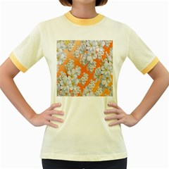 Flowers Background Backdrop Floral Women s Fitted Ringer T-Shirts