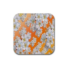 Flowers Background Backdrop Floral Rubber Coaster (Square)