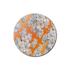 Flowers Background Backdrop Floral Rubber Round Coaster (4 pack)