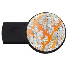 Flowers Background Backdrop Floral USB Flash Drive Round (2 GB)