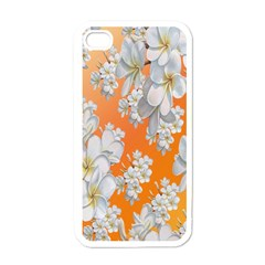 Flowers Background Backdrop Floral Apple iPhone 4 Case (White)