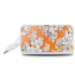 Flowers Background Backdrop Floral Portable Speaker (White)