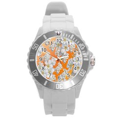 Flowers Background Backdrop Floral Round Plastic Sport Watch (l)