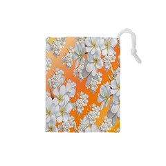 Flowers Background Backdrop Floral Drawstring Pouches (small)