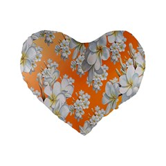 Flowers Background Backdrop Floral Standard 16  Premium Flano Heart Shape Cushions