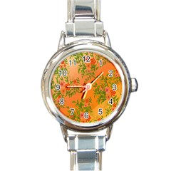 Flowers Background Backdrop Floral Round Italian Charm Watch
