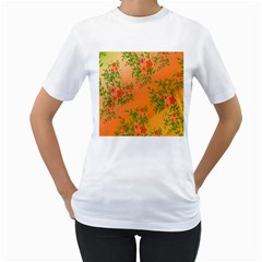 Flowers Background Backdrop Floral Women s T-Shirt (White) (Two Sided)