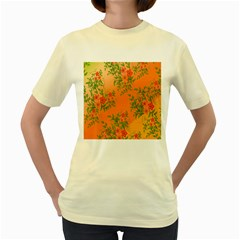 Flowers Background Backdrop Floral Women s Yellow T-Shirt