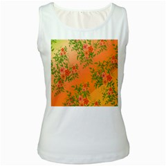 Flowers Background Backdrop Floral Women s White Tank Top