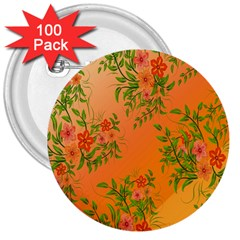 Flowers Background Backdrop Floral 3  Buttons (100 pack)
