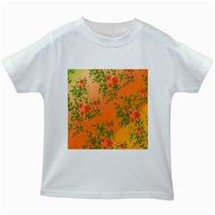 Flowers Background Backdrop Floral Kids White T-Shirts