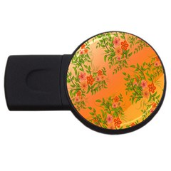 Flowers Background Backdrop Floral USB Flash Drive Round (1 GB)