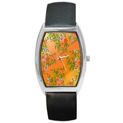 Flowers Background Backdrop Floral Barrel Style Metal Watch