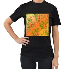 Flowers Background Backdrop Floral Women s T-Shirt (Black) (Two Sided)
