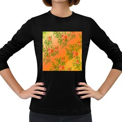 Flowers Background Backdrop Floral Women s Long Sleeve Dark T Shirts