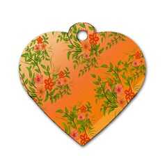Flowers Background Backdrop Floral Dog Tag Heart (Two Sides)