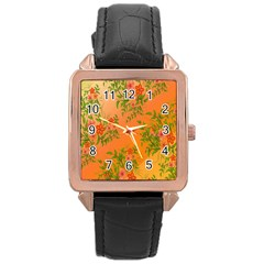 Flowers Background Backdrop Floral Rose Gold Leather Watch