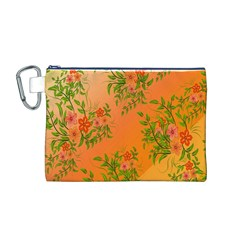 Flowers Background Backdrop Floral Canvas Cosmetic Bag (M)
