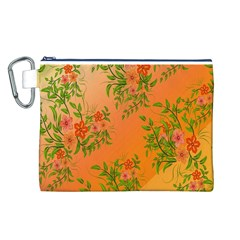 Flowers Background Backdrop Floral Canvas Cosmetic Bag (l)