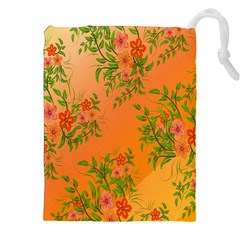 Flowers Background Backdrop Floral Drawstring Pouches (XXL)