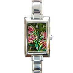 Flowers Abstract Decoration Rectangle Italian Charm Watch
